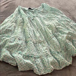 Mini Boden full twirl peasant skirt 11-12 teal